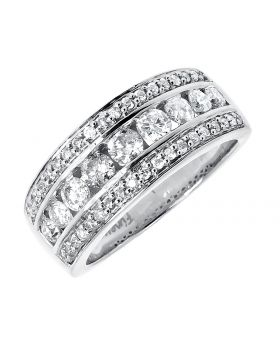 Three Row Channel Set Diamond Band Ring in 14k White Gold (1.25 ct)