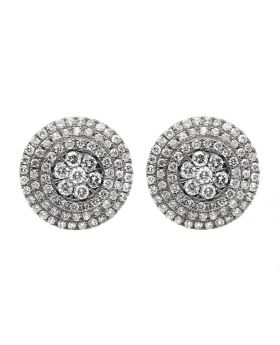 14K White Gold Halo XL Cluster Diamond Stud Earring 1.50ct