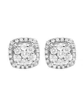 14K White Gold Real Diamond square Cluster Stud Earring .50 ct