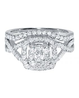 10k Ladies White Gold Solitaire Look Bridal Engagement Ring Set (1.0 ct)