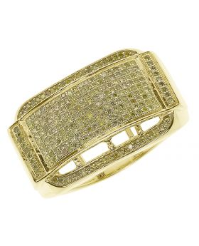 10k Yellow Gold Mens Canary Diamond Concave Fashion Band (1.0 ct)