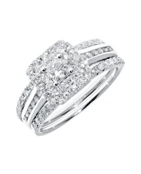 Two-row Halo Princess Cut Solitaire Bridal Set in 14k (1.0ct)