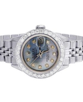 Ladies Rolex Datejust Oyster Blue MOP Dial Diamond Watch 2.5 Ct