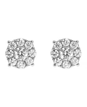 14k Yellow Gold Round Diamond Cluster Earrings 8mm (1.0 ct)
