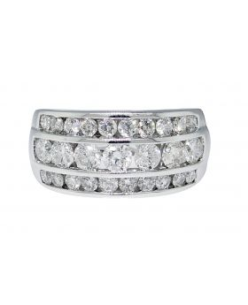 Three Row Channel Round Cut Diamond Ring (2.5 Ct)