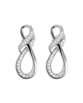 Ladies 10K White Gold Real Diamond Infinity Dangle Earring .25 ct