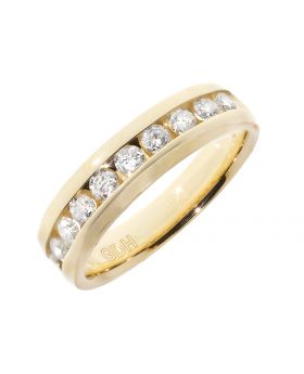 Mens 6mm Machine Set Band in Yellow Gold (0.99 ct)
