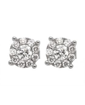 14K White Gold Solitaire Halo Real Diamond Stud Earrings 1.25ct