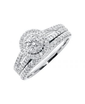 Fancy Solitaire Two-piece Diamond Bridal Set in 14k (0.90ct)