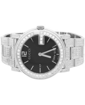 White Gold YA101305 40 MM Full Diamond Custom Gucci Watch 7 Ct