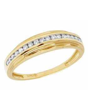 Men's 10K Yellow Gold Real Diamond Channel Band Ring 3/4 CT 6MM