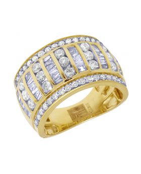10K Yellow Gold Real Diamond Baguette Men's Ring 2.5 CT 13MM