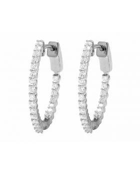 Ladies In And Out Real Diamond 10K White Gold Hoop Earrings 1.0Ct