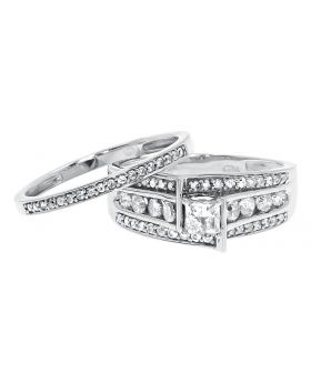 10k White Gold Ladies Princess Diamond Solitaire Bridal Ring Set (1.0 ct)