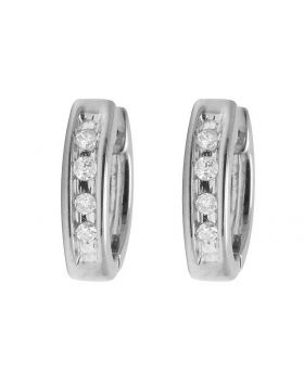 10K White Gold Real Diamond Baby Huggie Hoop Earrings 0.05ct