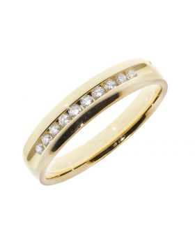 Mens 5mm Channel Set Band in Yellow Gold (0.25 ct)