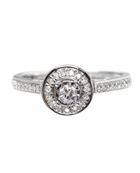 Halo Engagement Ring in White Gold (0.25ct)