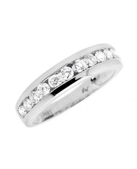 White Gold Mens 1 Row Genuine Diamond Ring Band 1.0ct