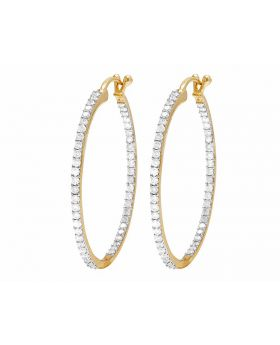 10K Yellow Gold Ladies Inside Out Hoop Earrings 2.75ct 1.6""