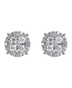 11mm Cluster Round Diamond Earrings in 14k Gold (1.25 ct)