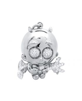 Naughty Cupid Angel Pendant in 10k White Gold (0.50 ct)