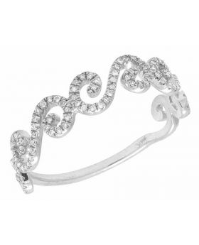 Ladies 14K White Gold Real Diamond Swirl Twisted Band Ring .25ct