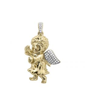 "1"" Yellow Gold Consoling Angel Pendant (0.25 ct)"