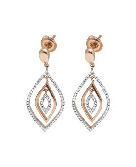 10K Rose Gold Real Diamond Designer Dangle Earring 0.37ct