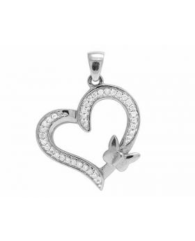 Ladies 10K White Gold Real Diamond Butterfly Heart Pendant 0.10ct