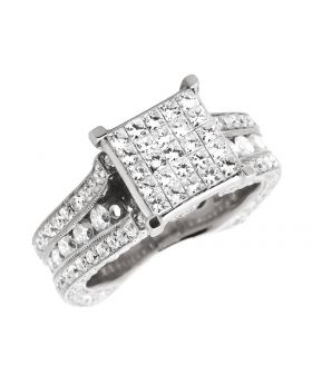 14K White Gold 3D invisible Princess, Round Diamond Engagement Ring 5.0ct