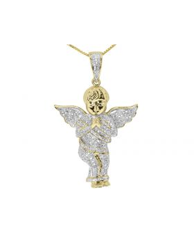 10k Yellow Gold Iced Out Diamond Praying Angel Pendant Charm (1.50 ct)
