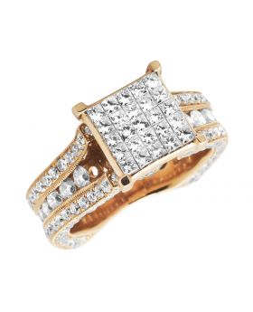 Ladies Rose Gold 3D invisible Princess, Round Diamond Fashion Engagement Ring (5.0ct)
