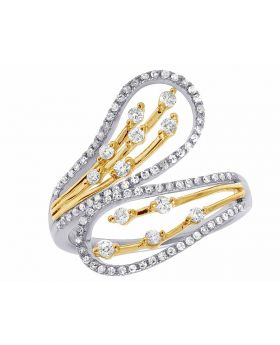 Ladies 10K Two Tone Real Diamond Cocktail Journey Ring 1/2 CT