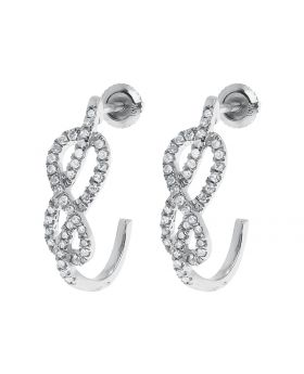 Infinity Style Half Hoops in White Gold (0.37 ct)