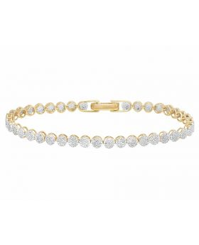 10K Yellow Gold Unisex Round Cluster Bracelet 1 1/2 CT 4MM