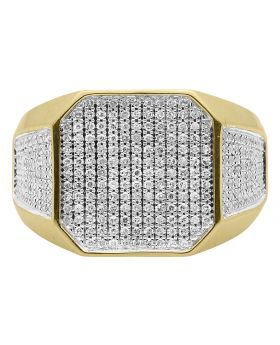 10k Gold Pave Diamond Octagon Top Pinky Ring (1 ct)