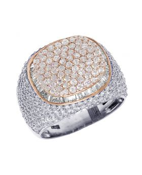 Mens Two-Tone Gold Square Pillow Baguette Diamond Pinky Ring 18MM 4.5CT