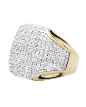 Pave Set Round Diamond Mens Puffed Pinky Ring in 10k Yellow Gold (3 ct)