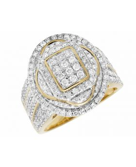 Men's Real Diamond 10K Yellow Gold Iced Oval Pinky Ring 2.5CT 20MM