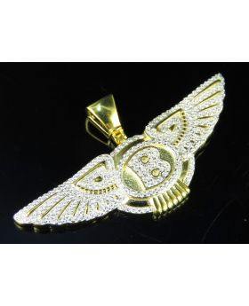 Men's Yellow Gold Finish Simulated Diamonds Bentley Flying B Logo Pendant 1""