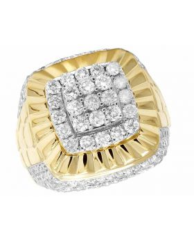 Men's 10K Yellow Gold 3D Square Real Diamond Pinky Ring 3.2CT 21MM