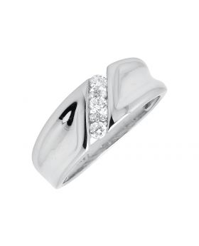 Men's White Gold Three-stone Style Genuine Diamond Wedding Pinky Ring Band (0.25ct)