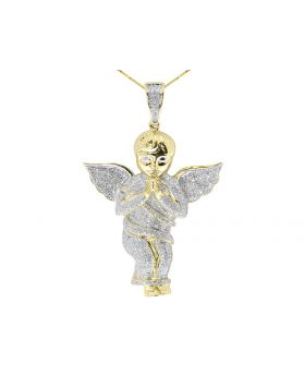10k Solid Yellow Gold Praying Angel Pendant Charm (3.0 ct)