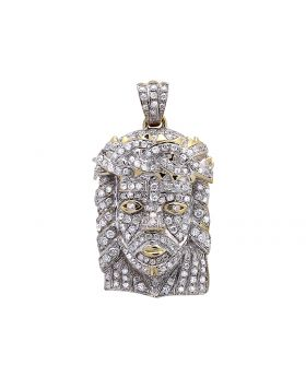 """Fully Iced Out Diamond Mini Jesus Pendant 1.1"""" in Yellow Gold (1.5 ct)"""