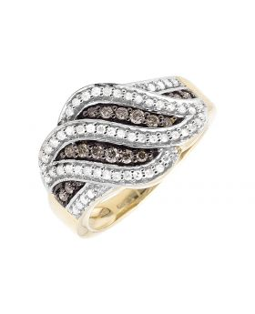 10K Yellow Gold Wave Brown and White Diamond Wide Ring (0.65ct)