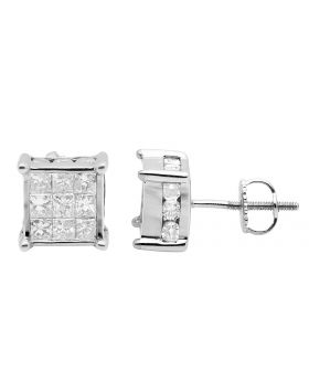 14K White Gold Princess Real Diamond 3D Cube Stud Earrings 2.0ct