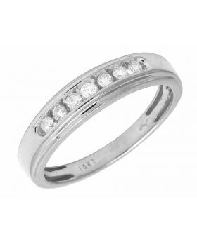 White Gold Mens 1 Row Channel Genuine Diamond Ring Band 0.25Ct 5MM