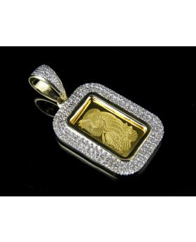 24K Yellow Gold 1 G Lady Fortuna Diamond Pendant .42ct 1.2""