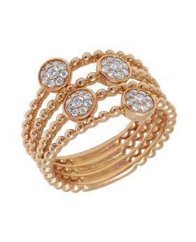 14K Rose Gold Openwork Flower Cluster Bead Ring 0.3CT