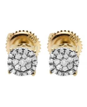 10K Yellow Gold Real Diamonds Round Cluster Studs Earring 0.18ct